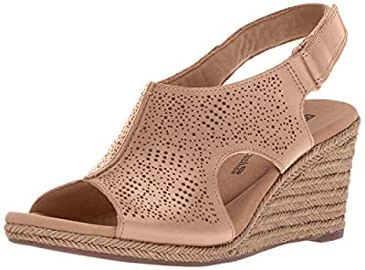 CLARKS Women's Lafley Rosen Platform, Sand Leather, 8 Medium US