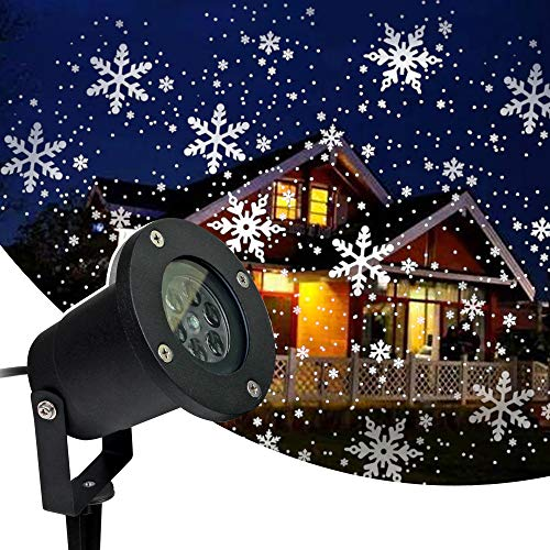 Remibel Decorative Moving Snowflake Projector Light Rotating Snowing Projection Lamp for Christmas, Waterproof Dynamic Snowfalling Lamp for Indoor & Outdoor for Landscape Patio Garden