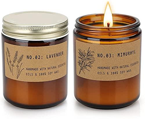 YMing Candele profumate per aromaterapia per la casa, candele di soia in giara a lunga durata, candele per il relax, set di regali per donne, lavanda e ambra confezione da 2
