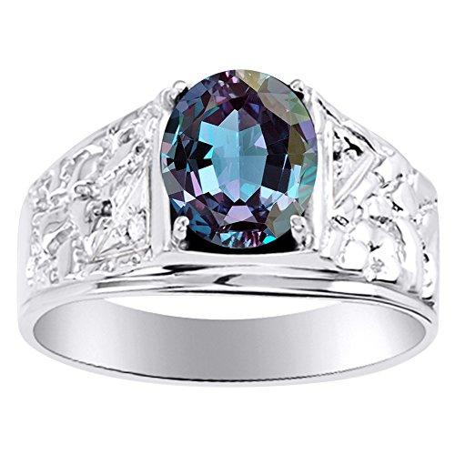 Para hombre imitación de imitación de Alejandrita y diamante anillo banda oro blanco de 14K