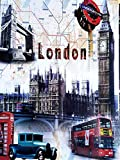 MR Cuadro de Madera Vintage London Underground, 24x18x1 cms