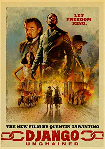 Weijiajia Quentin Tarantino Classic Movie Django Movie Unchained Retro Canvas Poster Wall Decor Home Bar Cafe 50x70cm (19.68x27.55 in) F-1200