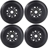 AOWESM Inline Skate Wheels 85A Gripper Asphalt Outdoor Inline Roller Hockey Replacement Wheels with Bearings ABEC-9 (4-Pack) (Black, 76mm)