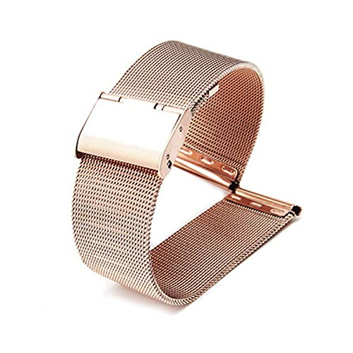 Reloj de reloj 12mm 14mm 16mm 18mm 20 mm 22 mm 24mm Universal Acero inoxidable Metal Reloj de metal Correa Pulsera Black Rose Gold (Band Color : Hot Pink, Band Width : 16mm)