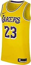Nike Mens Los Angeles Lakers Lebron James 2018-19 NBA Swingman Gold Jersey 100% Authentic