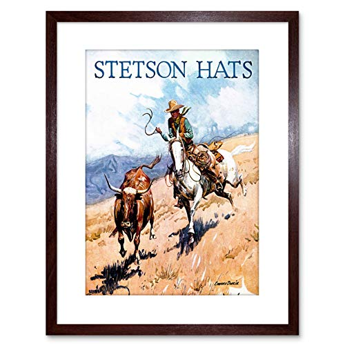 Wee Blauw Coo 9x7 '' AD Kleding Hoed STETSON COWBOY HORSE LASSO STEER FRAMED ART PRINT F97X052