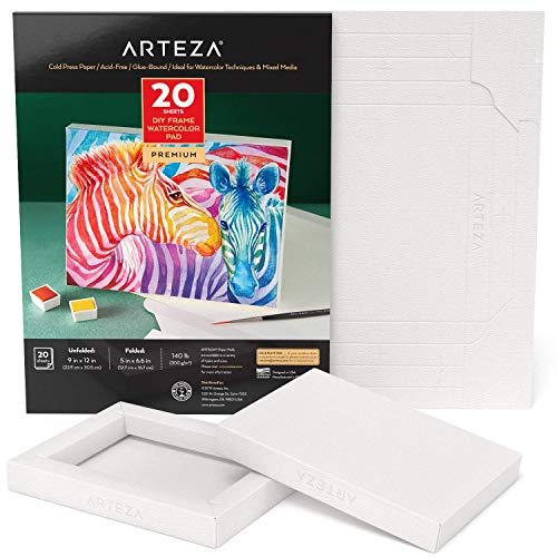 Arteza Watercolor Art Paper Foldable Canvas Pad, 5x6.6 Inches, 20 Sheets, DIY Frame, Acid-Free Heavyweight Paper Pad, 140lb/300GSM, Art Supplies for Painting & Mixed Media Art