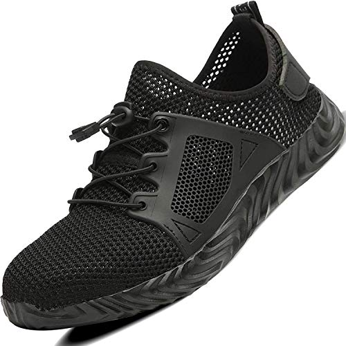 Ucayali Zapatos de Seguridad Hombre Trabajo Verano Zapatillas Trabajar Comodos Ligeros Transpirables Calzado de Seguridad Deportivo Punta de Acero(019 Negro, 43 EU)