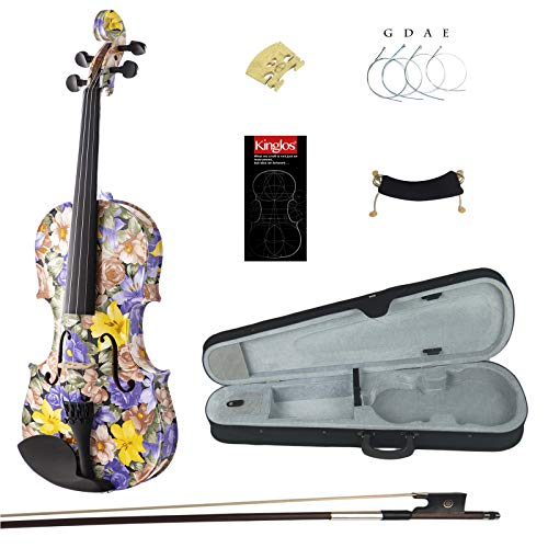 Kinglos 4/4 Cold-Rock Colored Ebony Fitted Solid Wood Violin Kit with Case, Shoulder Rest, Bow, Rosin, Manual, Extra Bridge and Strings Full Size