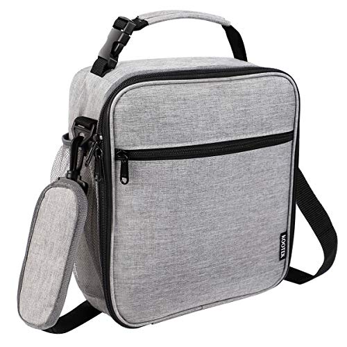 Kootek Insulated Lunch Box Reusable Lunch Bag Meal Prep Containers Cooler Bags with Clip-on Handle and Shoulder Straps for Men and Women Office Work (Grey)