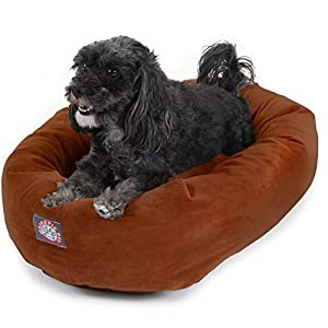 24 inch Rust Suede Bagel Dog Bed By Majestic Pet Products