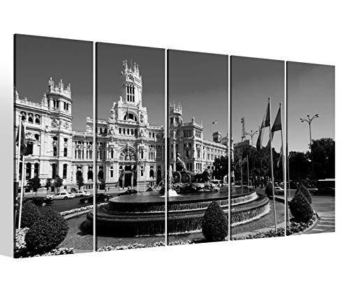 Leinwandbilder 5 teilig XXL 200x100cm schwarz weiß Madrid Spanien Skyline Cibeles Brunnen Druck auf Leinwand Bild 9BM1161