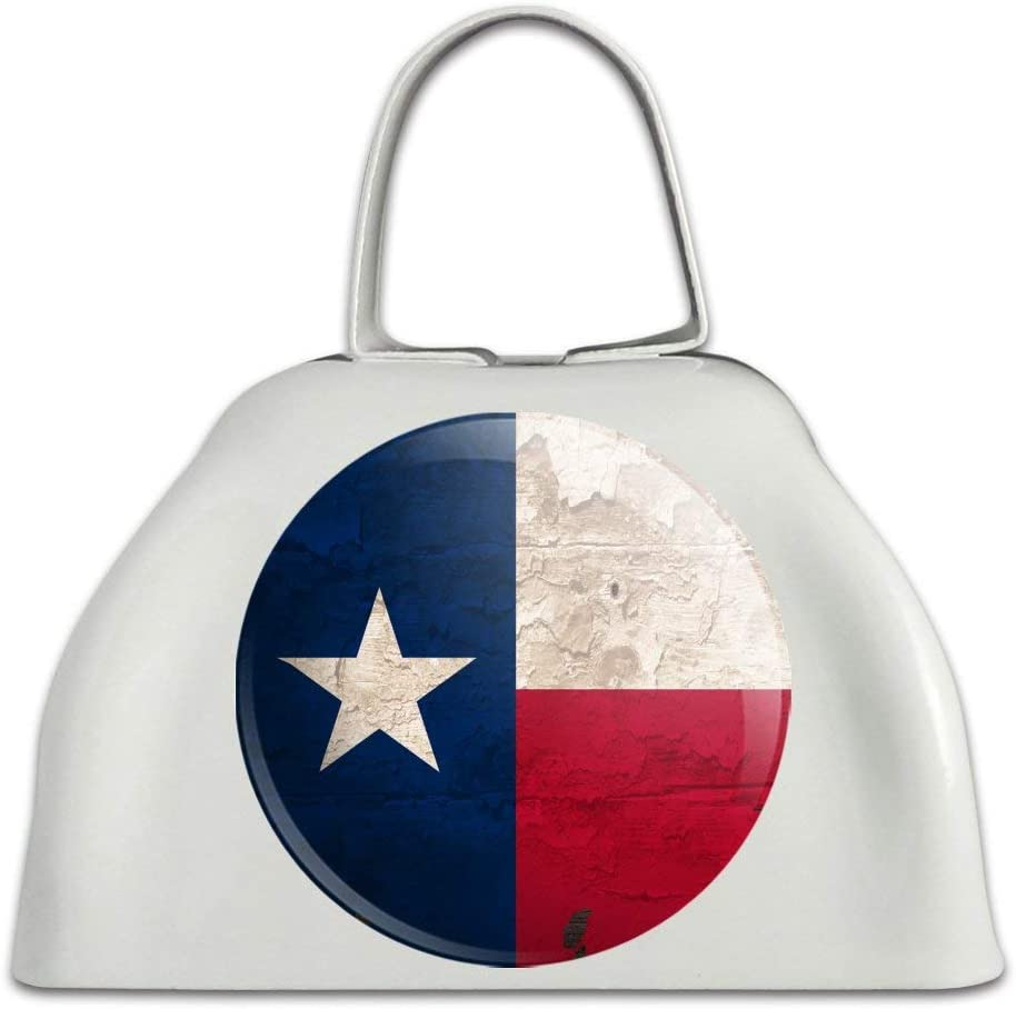 Rustic Texas Long Beach Mall State Flag Distressed USA Metal Cowbell White Cow Selling B