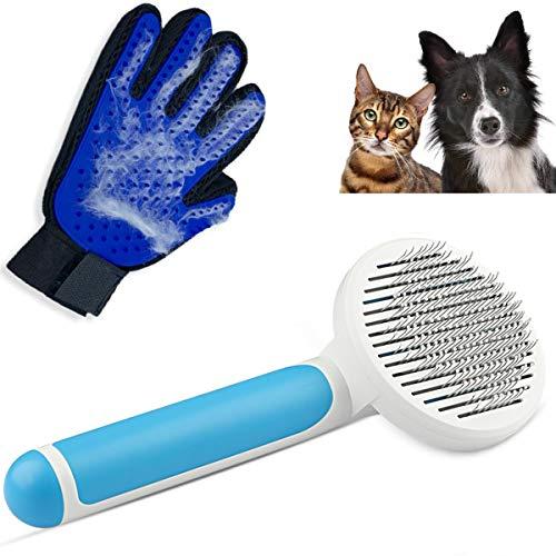 Cepillo para perros y gatos + Guante quita pelos para mascotas.