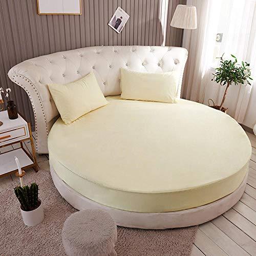 HPPSLT Protector de colchón, con Aloe Vera, (Todas Las Medidas) Hotel Cama Redonda algodón Puro-m Amarillo_2.0m + 2 Fundas Almohada