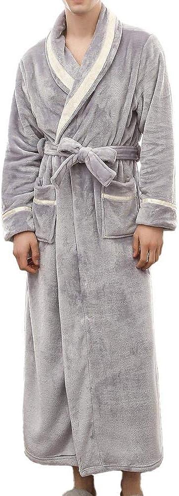 HGWXX7 Men's Long Robe Winter Thick Homewear with Pockets Long Sleeve Bathrobe for Men