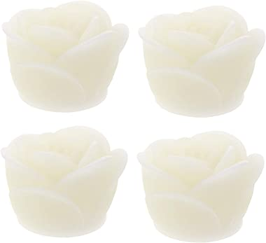 WINOMO 4pcs LED Tea Lights Candles Rose Flower Romantic Flickering Flameless Tealight Votives Candle Lamp Battery Operated fo