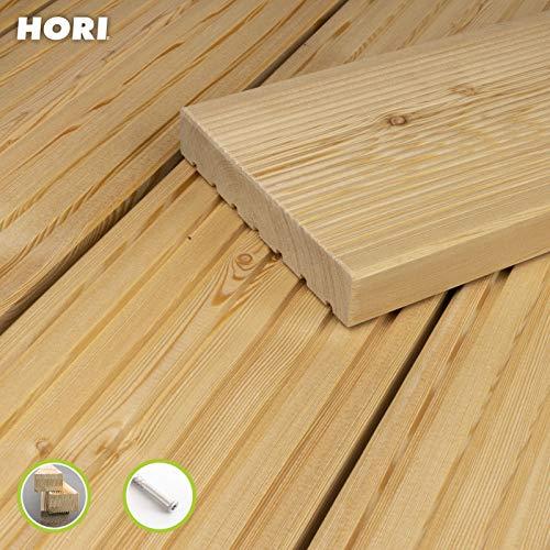 HORI® sibirische Lärche Terrassendiele Komplettset Massiv Nadelholz I Bausatz inkl. 45 x 70 mm Unterkonstruktion I Fläche: 5 m² I 3,00 m Dielenlänge