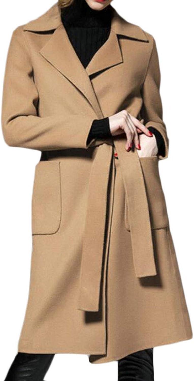 EtecredpowCA Womens Fall Winter WoolBlended Outwear Belted Trench Coat Pea Coat
