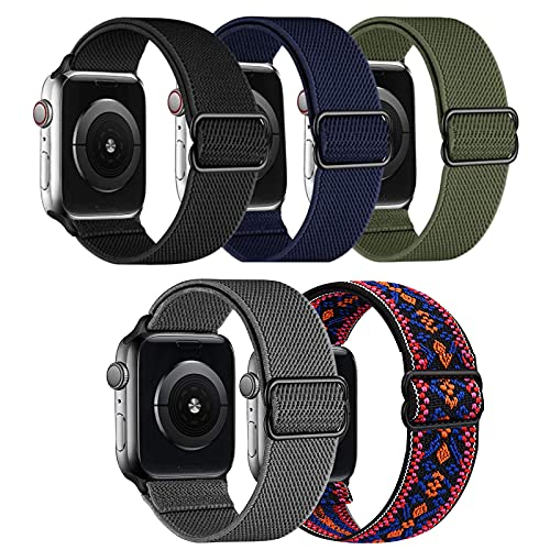 5 Pack Braided Solo Loop Bands Compatible with Apple Watch 44mm 42mm, Adjustable Stretchy Nylon Sport Elastics Women Men Strap Wristband Compatible with iWatch Series SE 6 5 4 3 2 1