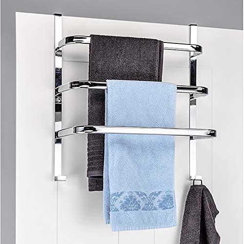 Handtuch-Halter für die Tür mit 3 Stangen und 2 Haken Chrom 56 x 49 x 25 cm