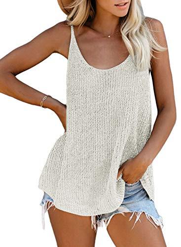 FIYOTE Damen T-Shirt Blusentop Elegant Hemdbluse V-Ausschnitt Tunika Tops Tank Tops Blusentop Oberteile T-Shirt Weiß L