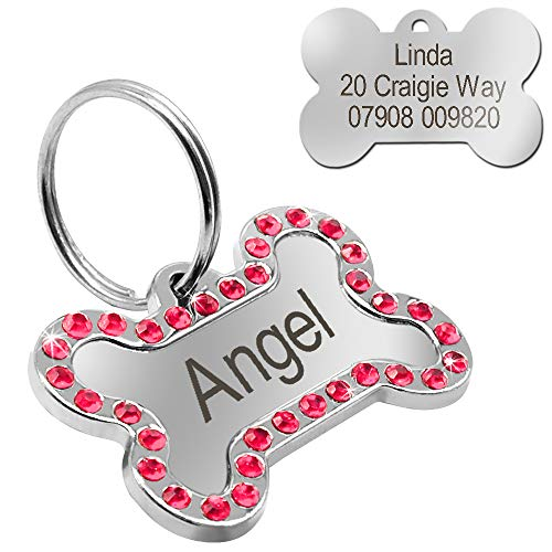 Didog Rhinestone Custom Pet ID Tags, Bone Shape,Free Engraved and Gifts, Bone Shape,Pink