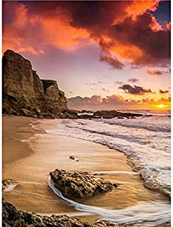 Holly LifePro DIY 5D Diamond Painting Kits for Adults, Full Drill Sunset Sea Beach with Reef Crystal Rhinestone Embroidery...