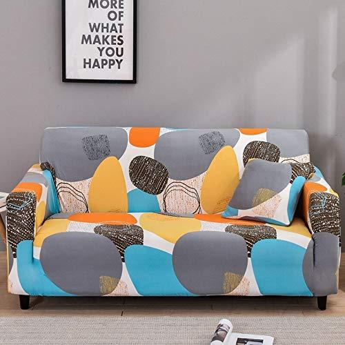WXQY Funda de sofá elástica geométrica para Sala de Estar, Funda de protección para sofá de Esquina en Forma de L, Funda de sofá Antideslizante combinada A19, 4 plazas