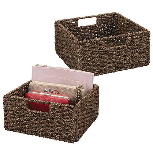 mDesign Juego de 2 cajas de almacenaje – Cajas organizadoras plegables hechas de mimbre – Cestas de almacenaje ideal para ropa, juguetes o revistas – Canastas con agarrador – marrón