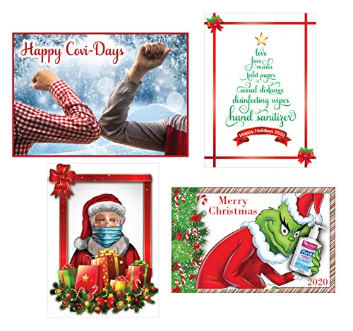 COVID Happy Holidays, Merry Christmas, Card, 2020, Pandemic, Funny, 4-Pack, Blank Inside, Envelope Included