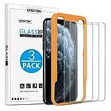 OMOTON Protector Pantalla iPhone 11 Pro MAX/iPhone XS MAX, 2.5D Cristal Templado iPhone 11 Pro MAX Protector de Pantalla iPhone XS MAX, Anti-Burbujas, 6.5 Pulgadas, con Marco Guía, 3 Piezas