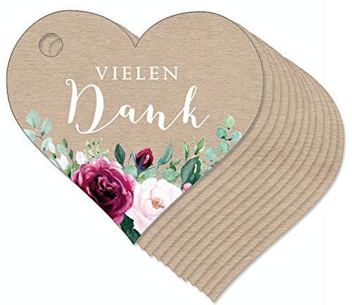 12 Anhänger Vielen Dank als Herz mit Rosen Rot in Kraftpapier Hängeetiketten Geschenkanhänger Glas Papieranhänger Hangtag Etiketten Gastgeschenke Hochzeit Tischdeko Selbstgemachtes in Herzform