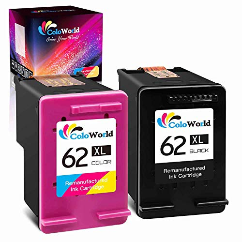 ColoWorld Remanufactured Ink Cartridges Replacement for HP 62XL 62 XL (1 Black,1 Color) Compatible with HP Envy 7640 5540 7645 5660 7644 5640 5661 Officejet 250 200 5740 8040 5741 5745 Printer