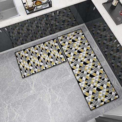 OPLJ Küchenmatte Anti-Rutsch-Türmatte Modernes Wohnzimmer Balkon Badezimmer Geometrisch bedruckter Teppich Waschbare Fußmatte A25 40x60cm