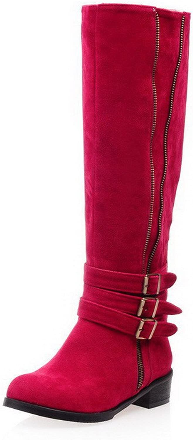 AmoonyFashion Women's Imitated Suede Zipper Low Heels Round Closed Toe Solid Boots, pinkred, 34