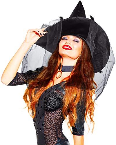 Balinco Hexenhut | Hexen Hut mit Federn und Netz mit kleinen Spinnen - das perfekte Accessoire für Ihr Hexenkostüm (Einheitsgröße)