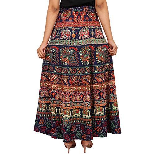 Jaipuri Fashionista Designer Cotton Women's Long Wrap Around Skirt Jaipuri Printed (Free Size) Blue