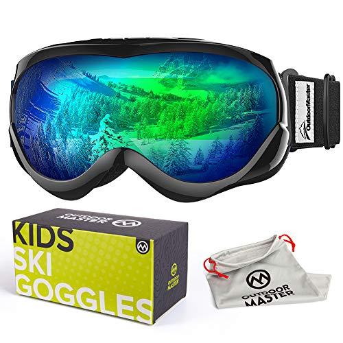 OutdoorMaster Skibrille Kinder, Snowboardbrille mit Rahmen, 100% OTG UV-Schutz Anti- Nebel Ski Goggles für Skifahren, Skaten, Snowboarden (Schwarz + Grün (VLT 18%))