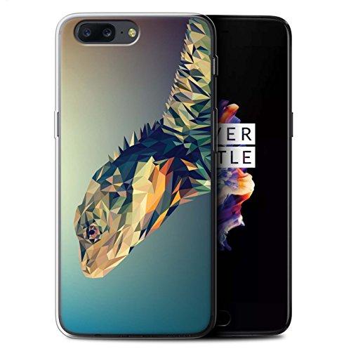 Stuff4 Gel TPU Hülle/Case für OnePlus 5 / Leguan-Echse/Reptil Muster/Geometrisches Tier Tierwelt Kollektion