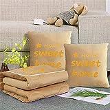 EVFIT Manta de avión Cartas Toalla Bordada Crystal Terciopelo Almohada edredón Caliente Espesado Oficina de la Almuerzo Cojín edredón de Doble Uso (Color : Yellow, Size : 40x40cm)