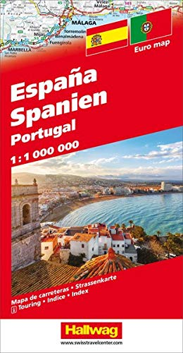 Spanien / Portugal Strassenkarte 1:1 Mio.: Mit E-Distoguide® via QR-Code (Hallwag Strassenkarten)