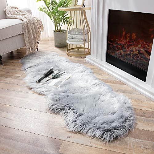 Ashler Soft Faux Sheepskin Fur Chair Couch Cover Area Rug Bedroom Floor Sofa Living Room Light Gray 2 x 6 Feet