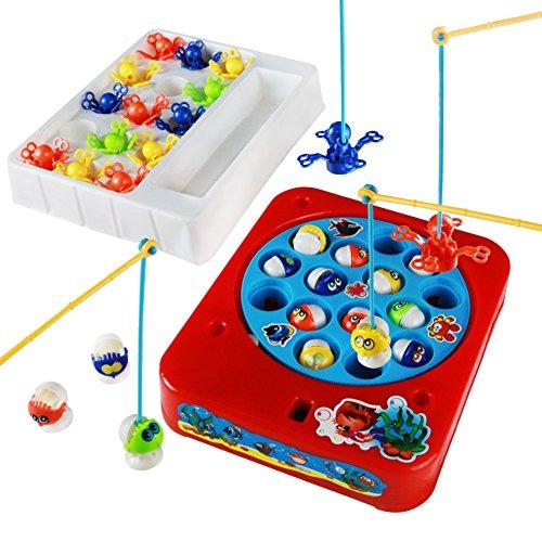 Giochi Musicali Gioco della Pesca Pesci Polpo con Canna e Luce Giocattoli Elettronici per Bambini da 3 Anni