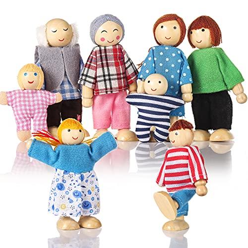 Biegepuppen Puppenhaus Puppen 8 Personen Puppenfamilie für Puppenhaus mit beweglichen Gliedern Puppen für puppenhaus Holz Kinder Spielzeug Minipuppen Zubehör Biegepüppchen für Puppenstube