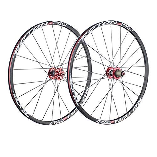 ZCXBHD 26/27,5 Pulgadas Bicicleta Montaña Juego De Ruedas Fibra Carbon Cubo Ultraligero Aleación Aluminio Pared Doble Freno Disco 7 8 9 10 11 Velocidad Liberación Rápida (Color : Red hub)
