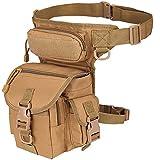 Rullar Multi-Purpose Hiking Waist Fanny Pack Tactical Military Drop Leg Bag Running Backpack Outdoors Camping Motorcycle Bike Cycling Pouch Shoulder Bag Khaki
