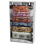 Miroytengo Zapatero Suitcase 3 Puertas con Impresión Y Color Blanco Pasillo Entrada Estilo Moderno 117x60x24 Cm