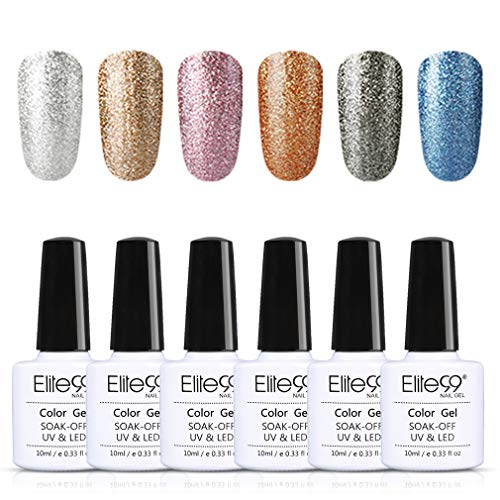 Elite99 Esmaltes Semipermanentes de Uñas en Gel UV LED, 6 Colores de Tono de Classic Blue, Kit de Esmaltes de Uñas...