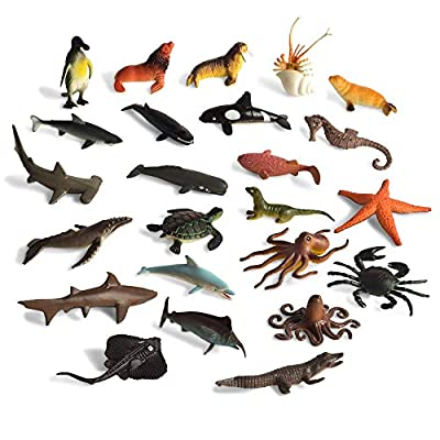 BOHS 24 PCS -Assorties d'Animaux Marins Créatures de la Vie Marine, océan, Collection de Figurines: Shark.Dolphin.Turtles.Crab etc.